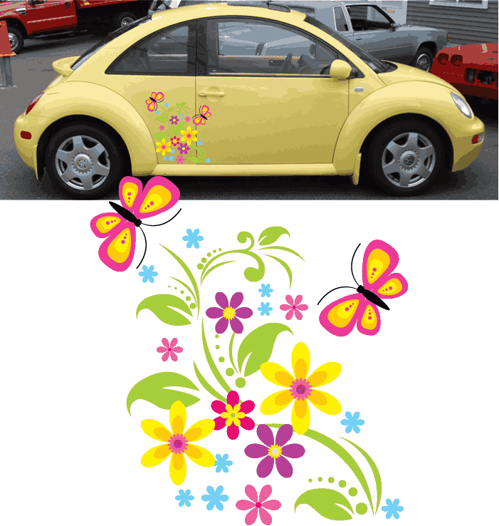 flowers and butterflies vinyl decals on car