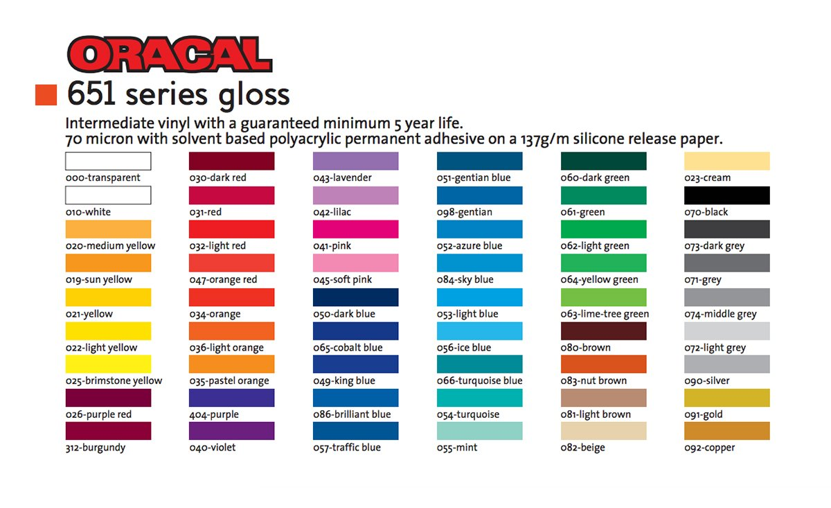 graphic about Oracal 651 Printable Vinyl named Oracal 651 Gloss Vinyl